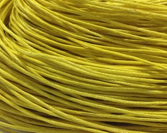 10 yds. Yellow Waxed Cotton Cord 1mm for Bracelet/ Necklace