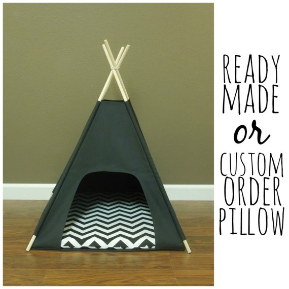 Cat dog tent pet teepee small 24 base black canvas for Diy cat teepee