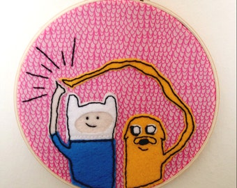 Adventure Time OTP - Hand Embroidered Wall Hanging