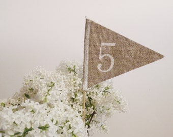 Wedding Table Numbers for wedding reception - burlap table numbers - burlap weddings - rustic weddings - table numbers for restaurants