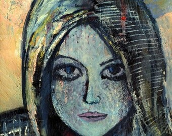 Textured - Modern Wall Art - Portrait - Face - Girl - Oil Painting - ALINA - Contemporary Art  - Oil on canvas - 50x60 cm (19.6x23.6 inches)