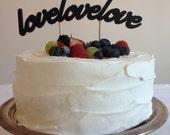 Love Love Love - Classic Curved Wedding Cake Topper