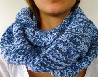 bufanda circular azul cuellos de punto hechos a mano bufandas de lana cerradas