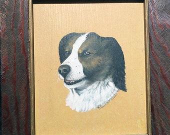 Folk Art Dog Painting Signed K.K. Humphrey Vintage 1922