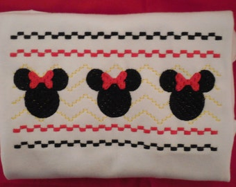 Minnie Faux Smocked Custom Tee Disney Vacation