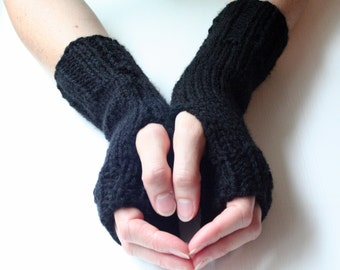 Fingerless Gloves, Black Gloves, Knit Gloves, Fingerless Mittens, Wrist Warmers, Arm Warmers, Cozy Gloves, Warm Gloves, Hand Knitted G