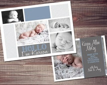 baby boy  announcement with FREE text customization 5x7 or 4x6 digital file