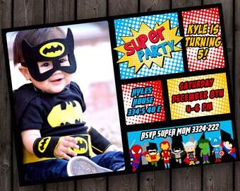 superhero birthday invitation, super hero party invitation, fast ship, free customization, super hero invitation printed or digital file