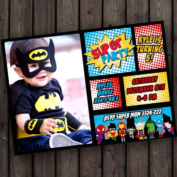 superhero birthday invitation super hero party invitation