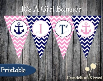 Pink Blue Nautical Anchor It's A Girl Baby Digital Printable Banner DIY
