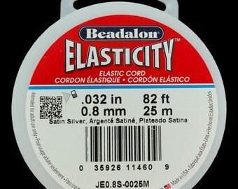 Elasticity by Beadalon 0.8mm / 25m Spool - Black, Clear or Satin Silver (CD304X)