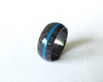 carbon fiber ring blue line