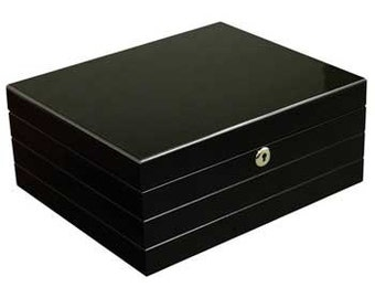 Personalized Humidor, Onyx Black Routed Edge Humidor, Father's Day Gift