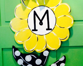 Daisy Flower with Polka Dots Door Hanger