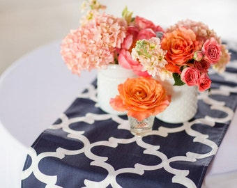 SIMPLY TABLE RUNNERS Blue Table Runner 12 x 48 Navy Blue Table Runners blue Wedding Showers Decorative Moroccan Table Runner 60 72 84 96