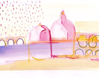 """illustration, """"domes"""", original watercolor on paper, special price!"""