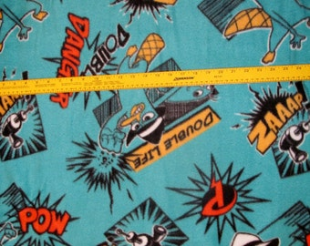 Agent P Perry the Platypus Phineas and Ferb Fleece Fabric BTY VHTF