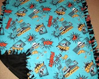 Phineas & Ferb Perry the Platypus Agent P Danger Fleece Tie Blanket