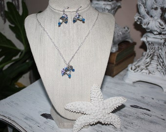 Swarovksi Crystal Charm Necklace and Earing Set with Silver Link Chain