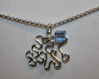 Sterling Silver Necklace, Wire Wrap Pendant  with Swarovski Cube Crystal, with Sterling Silver Chain, and Sterling Silver Lobster Claw Clasp