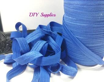 Royal blue 5/8 fold over elastic, Wholesale elastic, headband supplies, foe, diy hair ties, elastic by the yard
