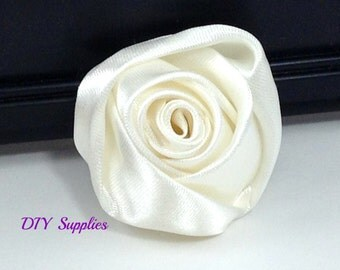 """2"""" Ivory rolled rosettes - satin flower - rolled satin flower - wholesale flowers - fabric flower - rolled rose"""