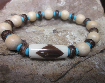 mens bracelet natural wood bracelet turquoise blue & white brown bone bead tribal bohemian bracelet stackable stretch bracelet gift for him