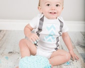 1st First Birthday Onesie - Blue Chevron - Gray Suspenders - Cake Smash - Photo Prop - Choose your size