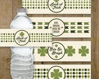 St. Patrick's Day Water Bottle Labels | Printable Bottle Labels INSTANT DOWNLOAD