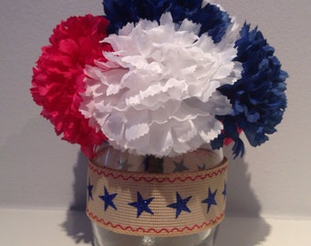 Patriotic Centerpiece / 4th of July Decoration - Star Ribbon - Blue, White & Red