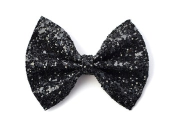 Black Glitter Bow Beautiful Adorable Clip for Newborn Baby Little Girl Child Adult Fall Halloween Photo Prop Pictures