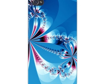 Apple iPhone Custom Case White Plastic Snap on - Diamond Bows Abstract Artwork 6369