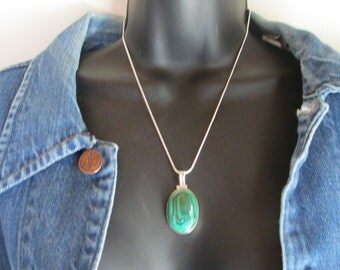 Gem Stone, Necklace, 12g BIG MALACHITE,  925 Sterling,  Silver Pendant - FREE Shipping!