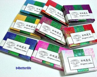 Lot of 9 packs Origami Lotus DIY Paper Folding Kit for making 27pcs of Small size Paper Lotus. (TX paper series).