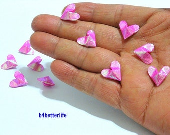 100pcs Pink Color Mini Size 3D Origami Hearts LOVE. (TX paper series). #FOH-114.