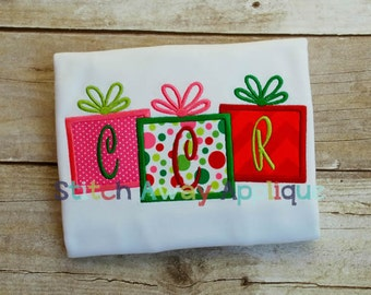 Christmas Present Trio Machine Embroidery Applique Design