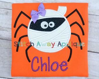 Mummy Spider Halloween Machine Applique Design