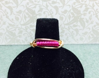 Magenta coil wire wrapped ring