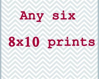 Any Six 8x10 Photography Prints / Save 30% / Print Set / Wall Art / Home Decor