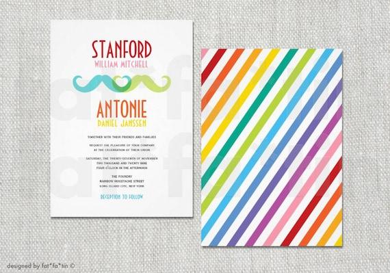 Gay Wedding Invite: Gay Wedding Invitation Double Mustache Rainbow Colorful Same