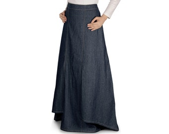 MyBatua Zia Denim Blue Long Skirt AS001 Islamic Formal, Daily & Casual Wear Made In  Denim Fabric.