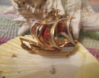 ON SALE   Pirate ship pin.  made in spain.