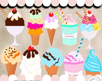 10 Ice cream clipart Nº3  -  PNG - transparent background - 300 DPI - instant download Freebies Minimum price allowed by Etsy