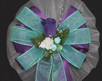 Purple Rosebud Aqua Sparkle Wedding Bow - Church Pew Decorations, Wedding Aisle Decorations, Wedding Ceremony Bow, Wedding Chair Bows