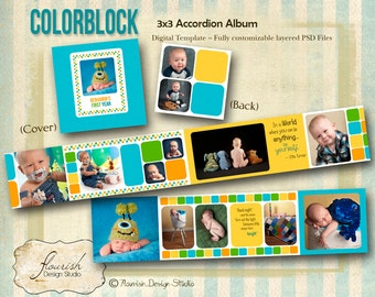 INSTANT DOWNLOAD - 3x3 Baby First Year Birthday Accordion Album template - Color Block Accordion Mini