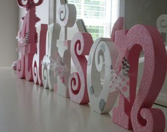 Nursery letters, Nursery wall hanging letters, Pink, White  & Gray nursery decor, nursery free standing letters
