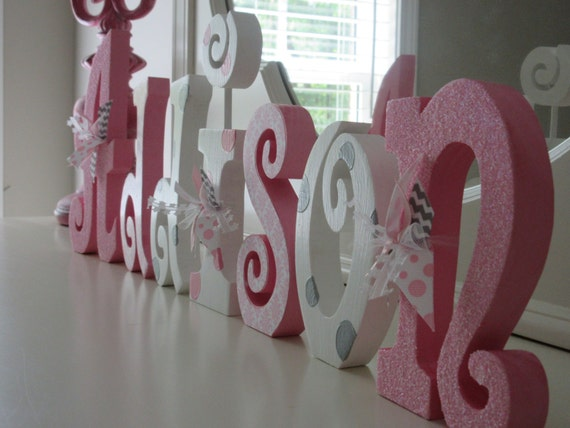 nursery letters nursery wall hanging letters pink white gray nursery decor