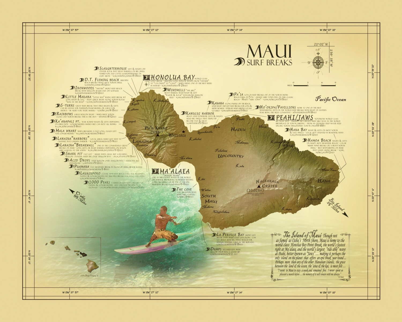 Maui Surf Break Map Vintage Inspired 11 X 14 Hawaiian Art