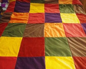 Vintage velvet patchwork pixie/elven/ hippie/ folk forest autumn woodland quilt/throw/bedspread