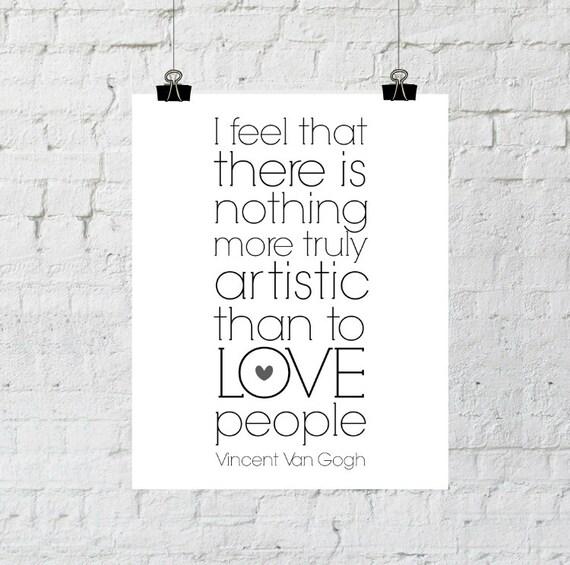 Printable Quotes, Artistic, Van Gogh Quote, Gray Heart, Home Decor Print, Instant Digital Download, Wall Art Prints, ADOPTION FUNDRAISER